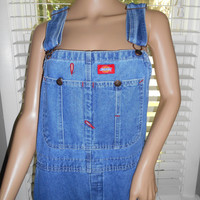 Vtg 90s Dickie's Denim Overalls / Blue Jean Bibbed Overalls / Denim One Piece Dungarees Farmer Jeans /Carpenter Style Overalls Unisex