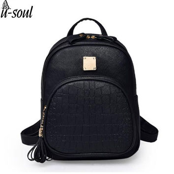 Korean Backpacks Fashion Small Shoulder Bag Crocodile Pattern PU Leather Backpack Embossed School Bags Backpack Women SC0390