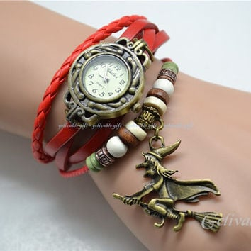 Witch wrist bracelet,witch on the broom charms bracelet watch,harry potter inspired leather chain bracelet watch BWW01