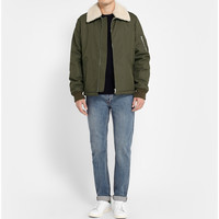 A.P.C. - Shearling Collar Cotton-Blend Bomber Jacket | MR PORTER