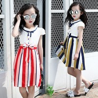Elegant Dresses For Girls 5 6 7 8 9 10 11 12 13 Years Striped Summer Sundress Teenagers Children Clothes School Costume For Kids
