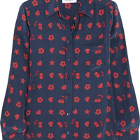 Equipment - Brett printed washed-silk shirt