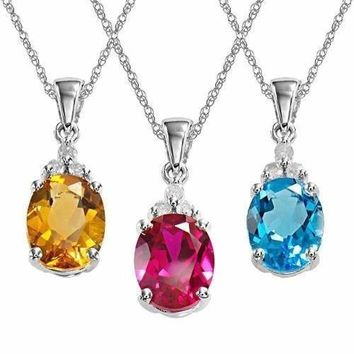 Sterling Silver Solitaire Crystal Birthstone CZ Pendant Necklace in Silver
