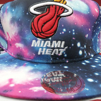 Custom Galaxy ALL OVER Heat mitchell & Ness snapback hat crazy rare heat tisa vintage obey nba
