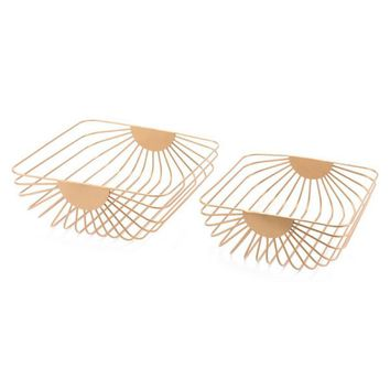 Wired Trays Gold Gold (Set of 2)