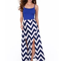 Blue Spaghetti Strap Striped Wave Pattern Backless Maxi Slit Dress