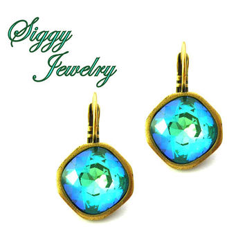 Swarovski Crystal Earrings, Ultra Emerald AB, 12mm Cushion Cut Bezel, Iridescent Green, Assorted Finishes, Drop Lever Back, Gift Packaged