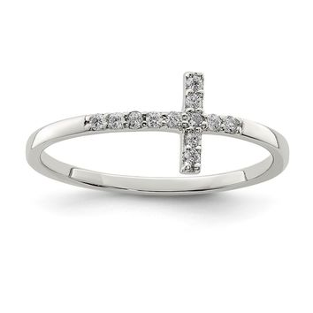 925 Sterling Silver with Cubic Zirconia Sideways Cross Ring