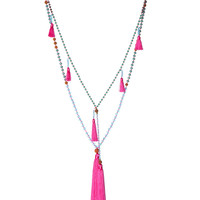 Zacasha | Hot Pink Ganitry Seeds Tassel Necklace Set