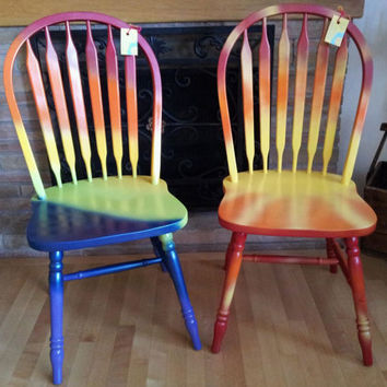 Hand-painted OOAK Pair 2 Wood Rainbow Sunshine Chairs 'PEACE to You' & 'You are My Sunshine' Joyful Tie Dye Colorful Unique Furniture GIFT