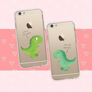 Cute Dinosaur Couple Phone Cases
