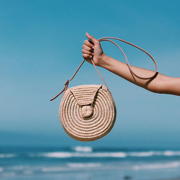 Raffia Round Bag with Leather handle -  Cross body round bag, Handmade Round straw bag, Summer Tote, Round beach basket