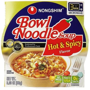Nong Shim Hot And Spicy Bowl - Noodle Soup - Case Of 12 - 3.03 Oz.