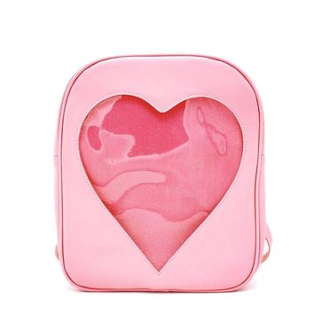 Summer Candy Transparent Love Heart Shape Backpacks Harajuku School Backpack Shoulder Bags For Teenager Girls Crystal Book Bag