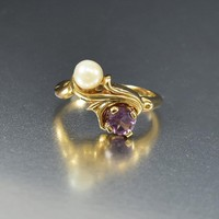 Pearl and Amethyst 14K Gold Cocktail Ring