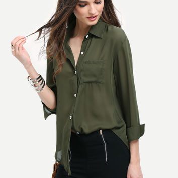 Army Green Long Sleeve Blouses | MakeMeChic.COM