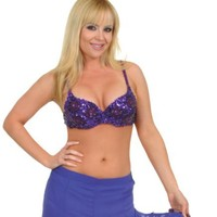 Purple Glass Beaded and Sequinned Bra