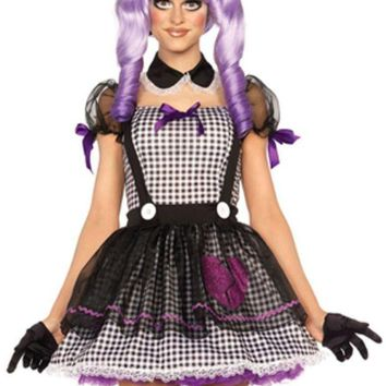 DCCKLP2 3PC.Dead Eye Dollie babydoll apron dress collar and bow headband in BLACK/WHITE