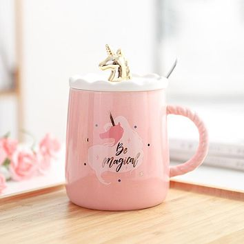 Magical Unicorn Mug with 3D Glod Lid and Spoon Ceramic Cup Pink 450ml