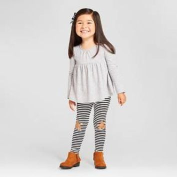 Toddler Girls' Peplum Top and Star Leggings Outfit Cat & Jack™ - Grey/Stripes : Target