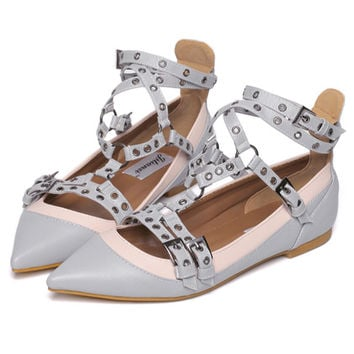 Cute Point Toe Strappy Casual Flats