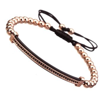 Ckysee Jewelry Love zircon Bracelet Cuff Gold-plated copper beads Bangle for Women Girls
