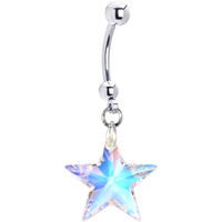 Handcrafted Genuine Crystal Aurora STAR Belly Ring MADE WITH SWAROVSKI ELEMENTS | Body Candy Body Jewelry