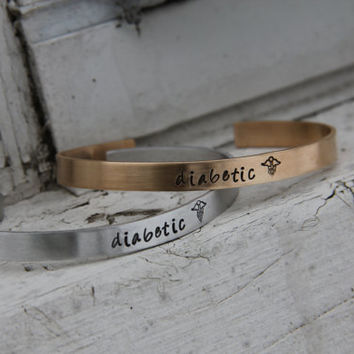 Custom Medical Alert Cuff Bracelet - Personalized in Bronze or Aluminum