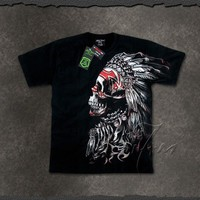 "Glow Dark ""Dreamcatcher"" Chief Skull T Shirt"