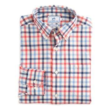 Gap Creek Multi-Gingham Sport Shirt in Spiced Coral by Southern Tide - FINAL SALE