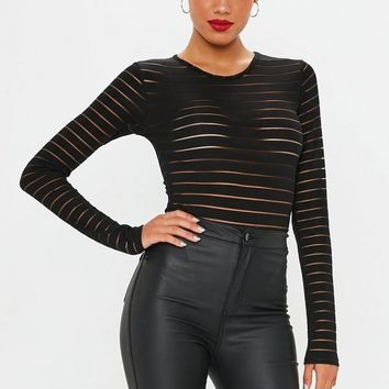 Missguided - CREW NECK STRIPE MESH BODYSUIT