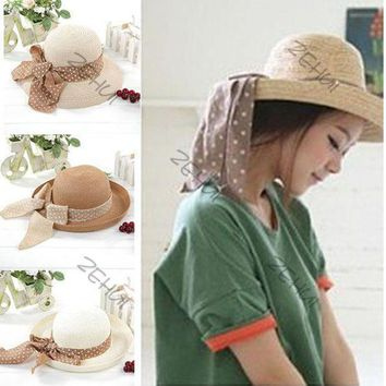PEAP78W NEW Elegance Women Big Bowknot Straw Hat Derby Panama Cap Beach Fedora 4 Colors