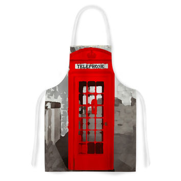 "Oriana Cordero ""London"" Red Gray Artistic Apron"