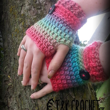 Crochet Fingerless Gloves, Wrist Warmers, Tropical Fingerless Mittens, Steampunk Fingerless Mitts