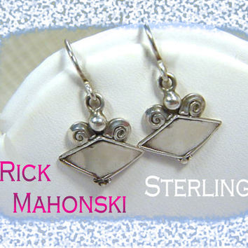 Rick Mahonski - New Age Mystic Diamond Shape Sterling Silver Earrings - Williamsport PA Goldsmith Artisan