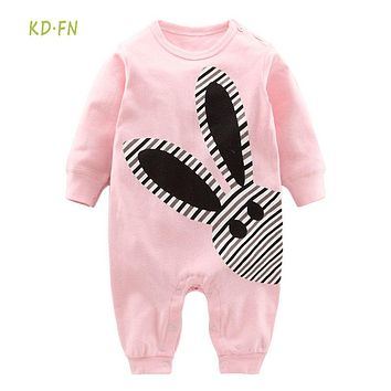 Newborn Baby Clothes Ropa bebe 0-12Months 100% Cotton pink Long Sleeve print Baby Girls Romper Infant jumpsuit  Baby Costume
