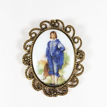 Blue Boy Cameo Style Brooch Vintage German Porcelain Gold Tone Oval Scroll Frame Pin Gift for Her