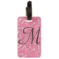 White and Black Zigzags on Pink Bag Tag
