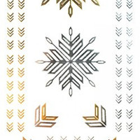 GGSELL GGSELL Metallic Temporary Tattoos Golden Gold & Silver & Black Jewelry design fashion fake tattoo stickers