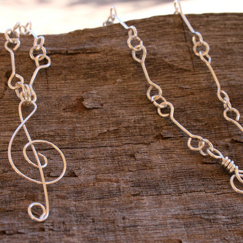 Handmade Silver Plated Wire Wrapped Music Necklace , G Clef Necklace , Music Lover's Jewerly , Music Note Jewelry