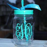 Personalized Mason Jar Tumbler in Teal