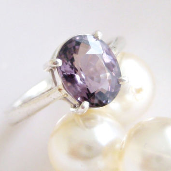 Natural Purple Spinel Sterling Silver Ring made by Hungarian Jeweler Size 6.25