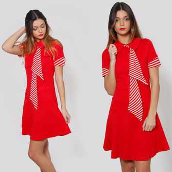 Vintage 60s NAUTICAL Mini Dress RED STRIPED Scooter Dress Peter Pan Collar Rockabilly Mod Dress