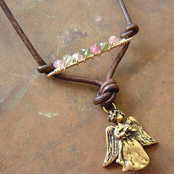 Angel on a String Necklace/Pendant with Tourmaline Gemstone, Watermelon Tourmaline, Gold Angel Charm, Wire Wrapped Gold Bar, Leather Pendant