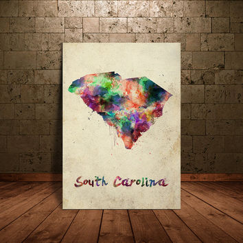 South Carolina Watercolor Map, South Carolina State Home Wall Art Print - South Carolina Art -South Carolina Poster Print Map(138)