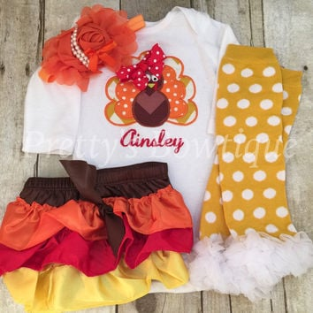 Thanksgiving Outfit Baby Girl – Turkey Embroidered Bodysuit, Bloomer, Headband & Polka Dot Legwarmers Set Personalized with Name