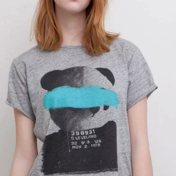 Gray Panda And Letter Print Short-Sleeve Shirt