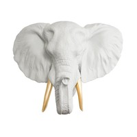 The Savannah | Large Elephant Head | Faux Taxidermy | White + Gold Tusks Resin