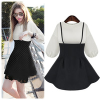 Black and White Puff Sleeve Top and Skater Mini Dress