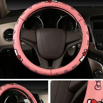 Hello Kitty Car Accessories Cartoon Steering Wheel Cover Natural Rubber Healthy Breathable Universal 38cm For Women Girl Lady